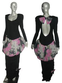 Vintage Stephan Caras Black Multicolor Floral Print Cutout Back Detail Bow Shirred Long Bubble Gown Evening Formal Dress