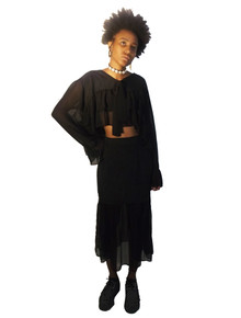 Contempo Casuals Black See Thru Sheer Ruffle Tier Cropped Blouse Long See Thru Ruffle Skirt 2pc Ensemble