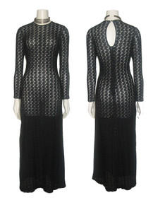 Vintage Black Open Crochet Stretch Knit Lace Sheer Long Fitted Bodycon Dress