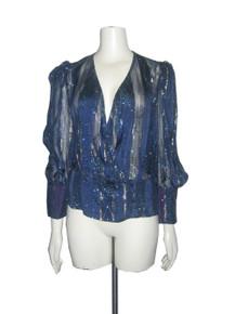 Vintage Blue Metallic Gold Striped Sheer Panels Glitter Buttoned Surplice Puff Sleeve Peplum Disco Blouse