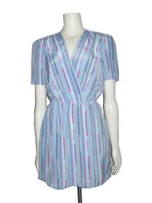 Vintage Light Blue Multicolor Stripe Surplice Short Mini Dress