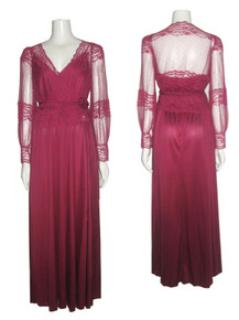 Vintage Burgundy Empire Waist Strappy Long Disco Dress w/ Matching Lace Rosette Belted Cover-up Jacket Top