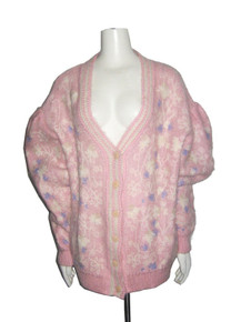 Pink Blue Off White Floral Embroidery Design Deep V-Neck Pleated Puff Sleeve Buttoned Boyfriend Oversize Slouchy Sweater Cardigan