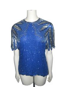Vintage Laurence Kazar Blue Silver Sequins Beads Embellished Silk Blouse