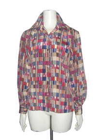 Vintage Groovy Multicolor Geometric Abstract Print Buttoned Disco Shirt Blouse