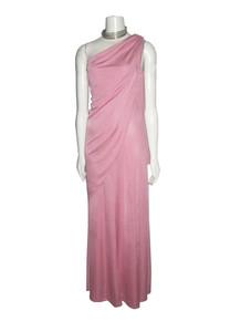 Vintage Fredericks Of Hollywood Pink Asymmetrical One Shoulder Overlay Grecian Disco Long Dress