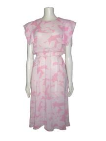 Vintage Pellini By Von Bramlett Pink White Leaf Print Extended Overlay Sleeve Belted Dress