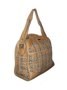 Vintage Bench Made Saks Fifth Avenue Leather Geometric Tapestry Carpet Shoulder Bag