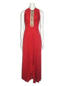 Vintage Floral Tapestry Trim Shirring Flared Long Disco Grecian Dress