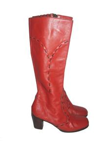 Vintage Latinas Burnt Orange Black Contrast Stitch Leather Boots