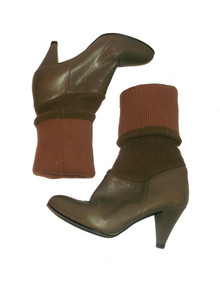 Vintage 9 West Leather Sweater Knit Leg Warmer High Heel Slouch Fold Over Boots