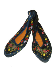 Vintage Blue Multicolor Metallic  Gold Floral Embroidery Ballerina Flat Shoes