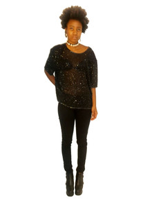 Vintage Black See Thru Sheer Short Sleeve Slouchy Cropped Beaded Blouse