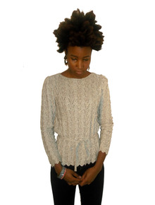 Vivanti Oatmeal Heather Pointelle Scallop Edge Scoop Neck Blouson Vintage Sweater w/ Matching Belt