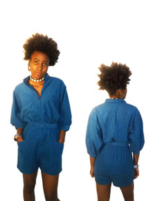 Vintage Coco Of California Blue Ultra Suede Stand Up Collar V-Shape Faux Snake Texture Yoke Zipper Front Pockets Belt Romper Short Jumpsuit