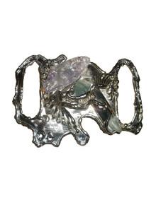 Vintage Carvalhu Rio Made In Brazil Silver Metal Multicolor Stones Versaltile Big Buckle