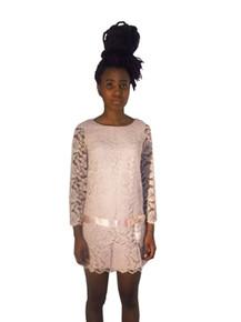 Vintage Short Stops Ronnie Fashions Light Pink See Thru Mesh Lace Scallop Edge Short Mini Mod Dress w/ Satin Waist Bow Belt Detail