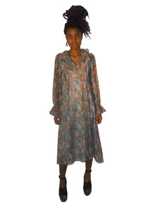 Jane Schaffhausen For Bell France Vintage Multicolor Floral Print  See Thru Sheer Ruffle Hippie Boho Dress