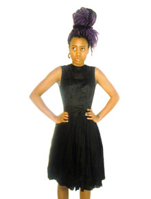 Vintage Classic Black Floral Lace Overlay Sleeveless Gather Waist Short Mini Bow Belt New Look Dress