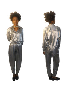 Vintage Diane Von Furstenberg NWT Unworn 2pc Silver Shiny Satiny Buttoned Front & Back Shirt Blouse w/ Matching Pleated Harem Pants