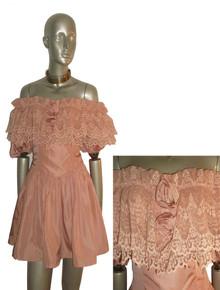 Vintage Rose Scallop Edge Floral Ruffle Tier Mesh Lace Short Party Dress w/ Rosettes