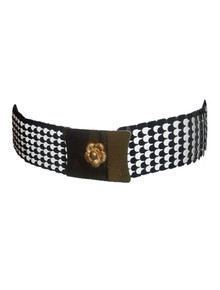 Black & White Vintage Fish Scale Checkered Stretch Elastic Belt w/ Metal Gold Flower Buckle