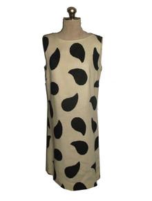 Vintage J.M. Towne & CO. Cream Black Paisley Sleeveless Short Mini Mod Linen Dress