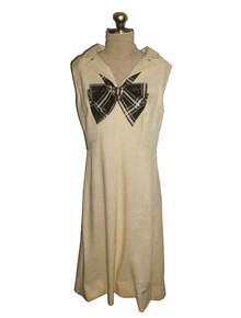 Vintage Young East Sider Cream Brown Sleeveless High Low Short Mini Mod Linen Dress w/ Plaid Bow Tie