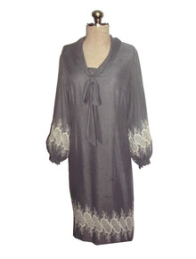 Ranelle Grey White Embroidery Eyelet Foldover Cowl Tie Neck Vintage Short Gauze Cotton Voile Dress
