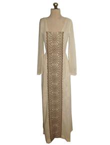 Vintage Biege Brown Hippie Boho Embroidered Eyelet Gauze Peasant Smock Festival Dress