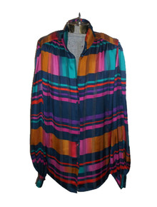 Vibrant Multicolor Stripe Plaid See Thru Sheer Buttoned Vintage Tunic Shirt Blouse