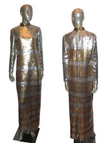 Vintage Edward Parnes Rare Silver Gold Stripe Solid Design Sequins Embellished Long Formal Gown Dress