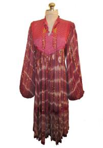 Vintage Hippie Boho Festival India Multicolor Metallic Quilted Sheer Crinkled Gauze Sequins Embroidered Poet Sleeve Tent Caftan Dress