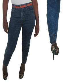 Vintage Limited Express Dark Blue Denim High Waist Zippered Bow Detail Skinny Fit Jeans