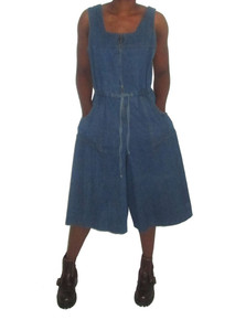 Vintage Denim Jeans Square Neck Zip Front Tie Waist Cropped Gaucho Pants Jumpsuit