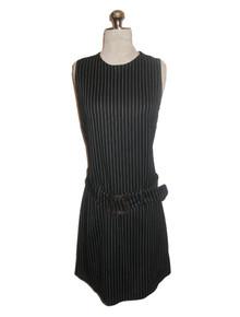 Vintage Contempo Casual Black & White Vertical Pin Stripe Sleeve Short Mini Belt Knit Dress