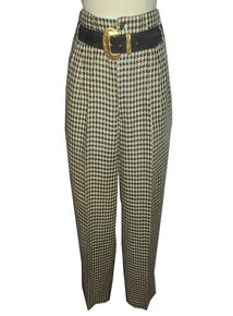 Vintage Designer Matsuda Cream Black High Waist Pleated Slouchy Houndstooth Linen Pants