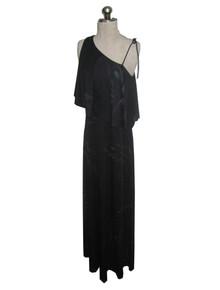 Vintage Black Multicolor One Shoulder Asymmetrical Overlay Flounce Long Disco Flared Dress