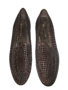 Vintage Urban Trends Brown Woven Braided Vero Cuoio Leather Men Loafers Shoes