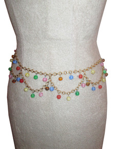 Vintage Multicolor Candy Balls Beaded Gold Chain Stranded Belt