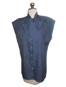 Vintage Blue White Pin Stripe Scarf Tie Neck Blouse