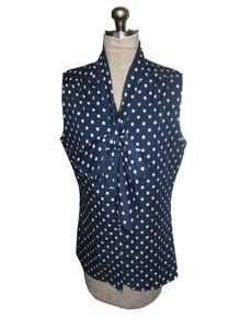 Vintage Blue White Polka Dot Scarf Tie Neck Blouse