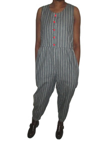Vintage Horizontal Vertical Pin Stripe Sleeveless Playsuit Jumpsuit w/ Pockets