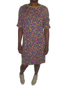 Vintage Multicolor Daisy Flower Print Short Cotton Mini Mod Baby Doll Dress w/ Ruffled Sleeves & Pocket