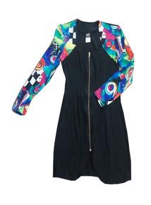 Vintage Knapp Studio California Solid Multicolor Graphic Print Colorblock Zip Front Curve Hem Short Mini Grunge Dress
