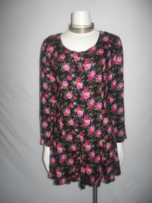 Vintage Joule Energy Multicolor Floral Print Laced Back Flared Grunge Romper Short Jumpsuit