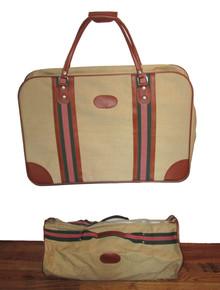 Vintage Canvas Vinyl Beige Multicolor Striped Tan 2Pc Duffle Bag Set