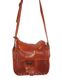 Vintage Rare Hippie Boho Western Tooled Engraved Saddle Shaped Tan Crossbody Leather Handbag