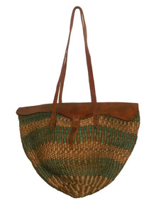 Vintage Hippie Boho Woven Straw Multicolor Tote Handbag w/ Double Leather Straps & Flap Closure