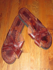 Vintage Rare Brown Engraved Woven Gladiator Ethnic Leather Men Flip Flop Slide Sandals